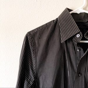 Express modern-fit dress shirt black/white stripe